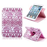 Fashion Design 360 Rotate PU Leather Case with Stand Screen Protector for Apple new iPad mini 2 Smart Cover (Calf Elephant)