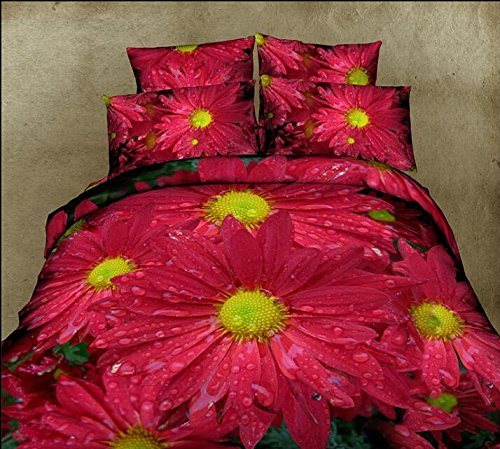 Queen Size 100% Cotton 4-Pieces 3D Red Sunflowers Floral Prints Duvet Cover Set/Bed Linens/Bed Sheet Sets/Bedclothes/Bedding Sets/Bed Sets/Bed Covers/5-Pieces Comforter Sets (4) front-1003324