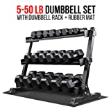 Rep Fitness Rep 5-50 lb Rubber Hex Dumbbell Set with Rack and Free Rubber Mat (Color: OptionA: 5-50withStand)
