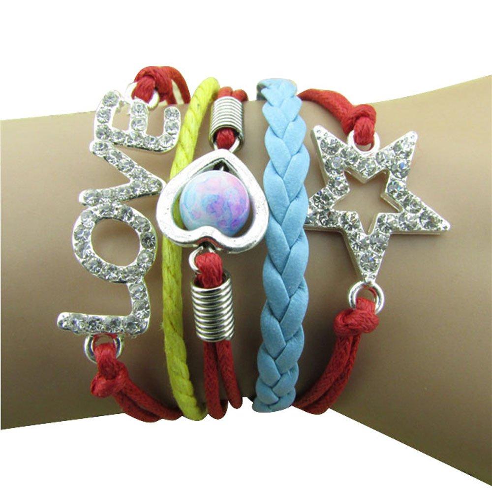 ZPS-Rhinestone-Love-Star-Heart-Bracelet-Infinity-Handmade-Leather-Rope