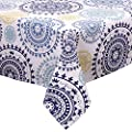 Ladelle International Dyani Tablecloth, 59 by 90-1/2-Inch, White/Blue