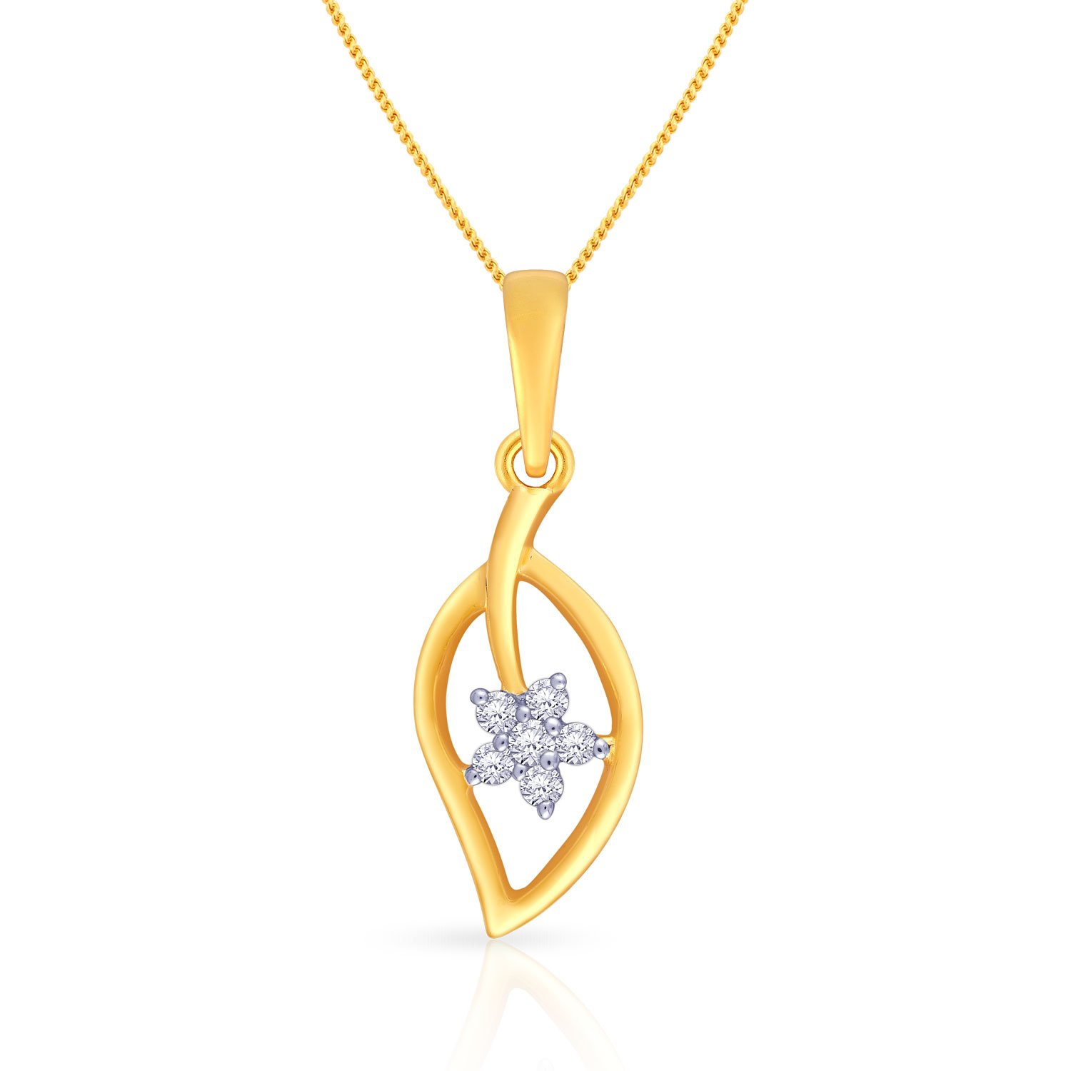 Malabar Gold and Diamonds 18k Yellow Gold and Diamond Pendant low price