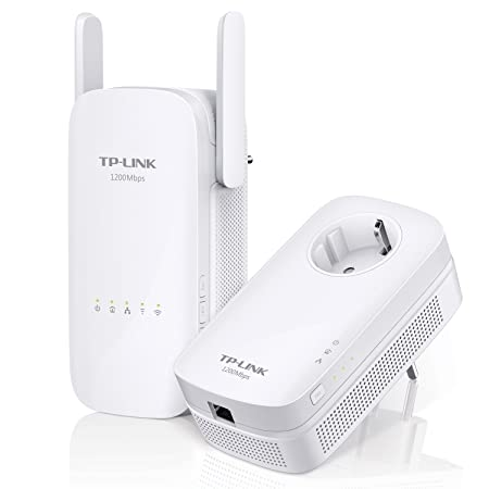 TP-Link TL-WPA8630KIT AV1200 WiFi Double Bande 1200Mbps Pack de 2 Adaptateurs CPL (300Mbps en 2.4GHz et 867Mbps en 5GHz, 3 Ports Ethernet, Prise Intégrée)