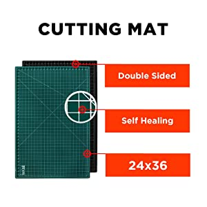 WA Portman Cutting Mat Craft Knife Precision Ruler Set I 24x36 inch Self Healing Mat I Hobby Knife I 10 Replacement Blades I 36 inch Premium Steel Ruler I for Crafts Model Kits Paper Plastic Fabric (Tamaño: 36 x 24)