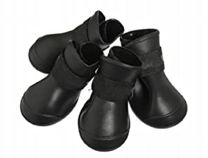 4pcs Perro PVC Lluvia Botas Zapatos impermeables Accesorios para el tamaño del perro casero Negro (M)   Más información y revisión del cliente