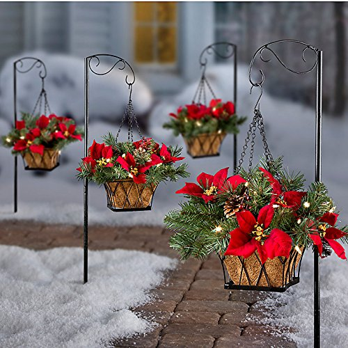Pre-Lit Poinsettia Christmas Greenery Walkway Hanging Basket
