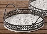 Tablett Holztablett Serviertablett Shabby Chic Holz weiß Antik-Look - D28cm