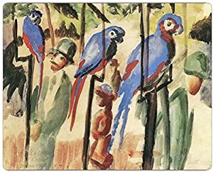 """Rikki KnightTM August Macke Art With the Parrots Design on 6"""" x 4"""" High Definition Museum Quality Almunimum Print - Metal Art Print - with Floating Block Wall Hangers (Proudly Made in the USA)"""