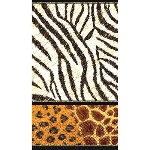 "Decorative Animal Prints Guest Towels Party Paper Hand Towels (16 Pack), 4-1/2 x 7-3/4"", Black/Brown"