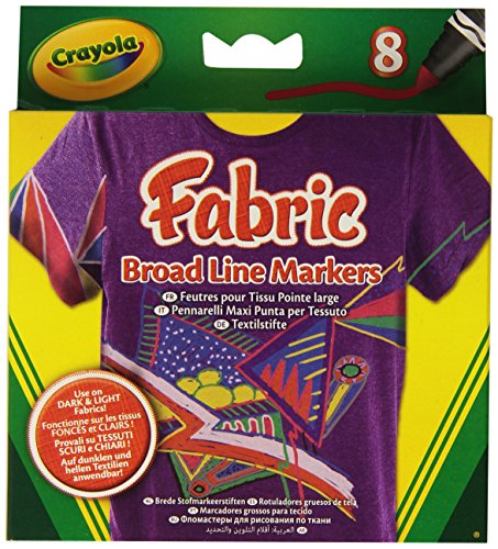 Crayola BroadLine Fabric Markers, 8 Count (Replacing 58-8176) - 1