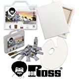 Bob Ross Painting Supplies 12 Piece Basic Master Paint Set - The Joy of Painting Landscape Oil Kit for Beginners with Canvas and Palette