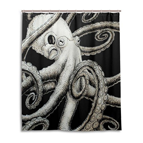 Living Octopus black and white Shower Curtain