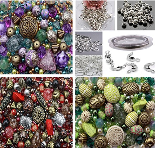 approx-x-1500-jewelry-making-beads-mix-starter-kit-for-beginners-in-purple-red-green-jewelry-finding