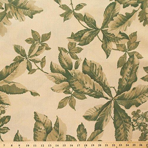Beige Green Oak and Chestnut Summer Leafs Cotton Blend Upholstery Grade Fabric 60
