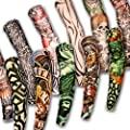 12 x Rock Fake Tattoo Arm Sleeves Stretch Temporary Funky Fancy Dress Costume Novelty Designs