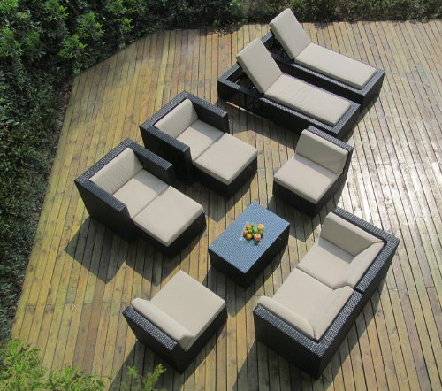 Ohana Collection PNC1101A 11-Piece Outdoor Sectional Sofa and Chaise Lounge Set image