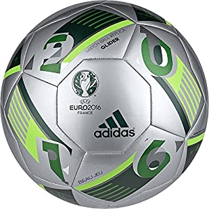 adidas Performance Euro 16 Glider Soccer Ball, Silver Metallic/Green/Solar Green, Size 4