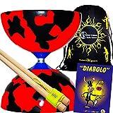 Juggle Dream Jester Diabolo Set Red/Black! With Wooden Diablo Sticks + Mr Babache Diabolo Book Of Tricks + Flames...