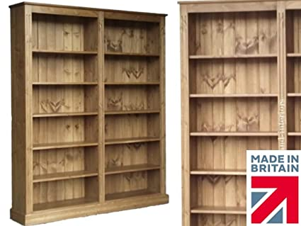 Solid Pine Bookcase, 6ft x 5ft Handcrafted & Waxed Multi-Display Library Shelving Unit, Bookshelves. No flat packs, No assembly. Choice of Colours (BBK01)