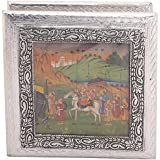 Hari Om Handicrafts Metal Decorative Box (22 Cm X 22 Cm X 7 Cm, Silver)
