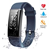 Lintelek Fitness Tracker, Heart Rate Monitor Activity Tracker Sleep Monitor, Measuring Calories Step Counter IP67 Waterproof Smart Watch Wearable Device for Men Women Kid Android iOS Veryfitpro (Navy) (Color: Navy)