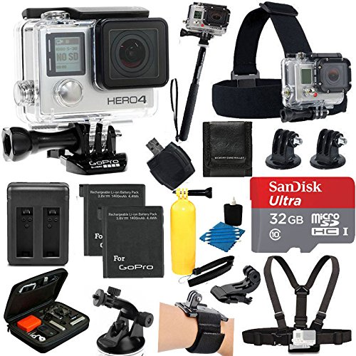 GoPro HERO4 SILVER Edition Camera HD Camcorder With Carrying Case + Dual Charge +2 Spare Battery + Head Strap + Chest Strap + Suction Cup Mount + Monopod + 32GB Card Complete Deluxe Accessory Bundle