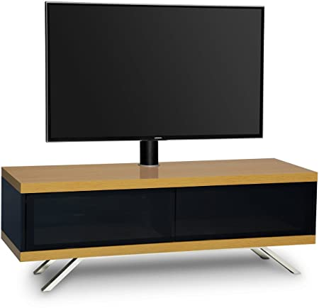 "MDA Designs TUCANA 1200 HYBRID ROBLE COMPLETE haz remoto Thru-Friendly 32 ""-55"" Roble pantalla plana y Negro brillante voladizo TV Gabinete"