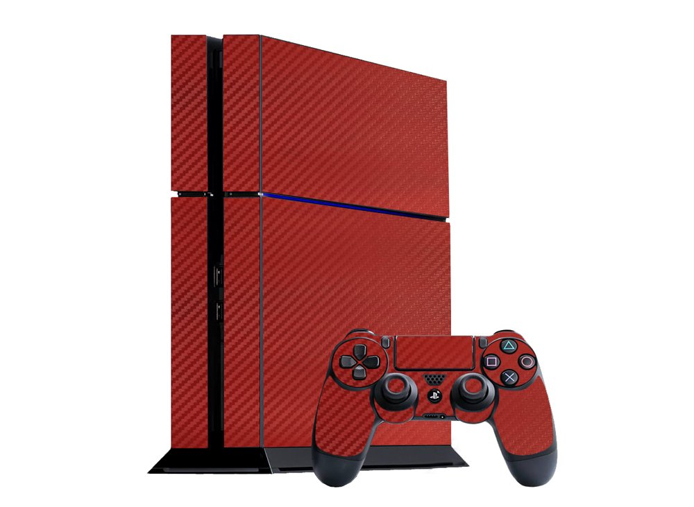 Sony PlayStation 4 Skin (PS4) - NEW - 3D CARBON FIBER MAROON RED - Air Release vinyl decal faceplate mod kit by System Skins