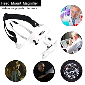 BIJIA Head Mount Magnifier with 2 LED Professional Jeweler's Loupe Light Bracket and Headband are Interchangeable 5 Replaceable Lenses: 1.0X, 1.5X, 2.