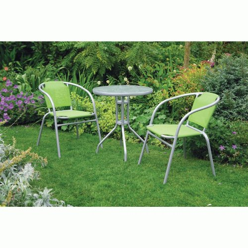 UK-Gardens Garden Bistro Patio Set For 2 - Grey and Green Weatherproof Textoline and Metal Frames - 3 Piece 60cm Table and 2 Chairs - Stacking Chairs - Lightweight Outdoor Furniture