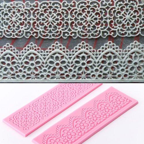 2 x molde silicona fondant flor de encaje para hacer tarta - Moldes silicona amazon ...