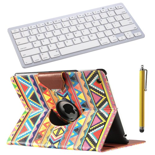 Pandamimi Ulak(Tm) 360 Degree Rotating Magnetic Pu Leather Stand Case Smart Cover For New Ipad 4Th Generation Apple Ipad 2, Ipad 3(The New Ipad) (Wake/Sleep Function) W/Touch Stylus +Bluetooth Keyboard For Ipad, New Ipad Mini (New Ipad 2/3/4, Play)