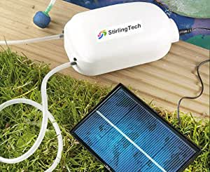 Stirlingtech Solar Power Pond Oxygenator Aquarium Air Pump Oxygen Pool Fishpond