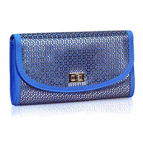 Bmc Perforated Quartered Circle Cut Out Design Electric Blue Faux Leather Shiny Gold Base Color Fashion Envelope Clutch