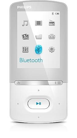 """Philips SA5AZUR04WF Lecteur audio/vidéo MP3/MP4 Bluetooth avec Dictaphone/Enceinte 4 Go Ecran 2,2"""" Blanc"""