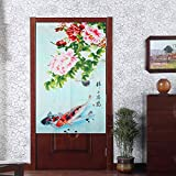 Vintage Chinese ink painting style Auspicious Red and Black Fish with Beautiful Peony Pattern Door Curtain Japanese Noren Curtain Bedroom and Doorway Curtain