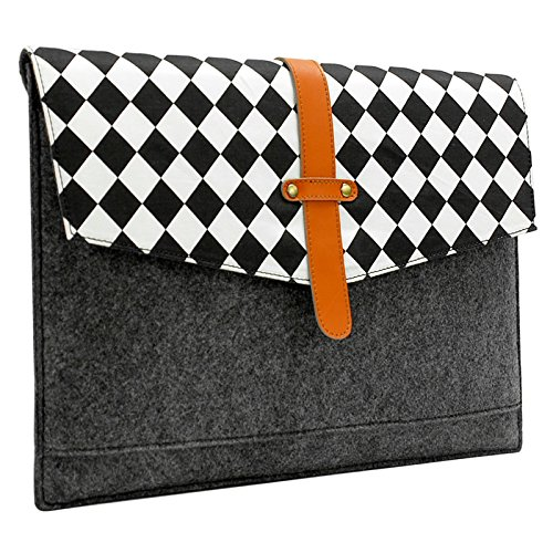 sinoguo-gray-felt-real-leather-with-black-and-white-grid-and-2-pockets-carrying-bag-case-sleeve-pouc