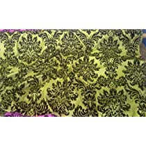 Damask Faux Silk Taffeta Velvet Flock Curtain Fabric LIME GREEN & BLACK - PER METRE