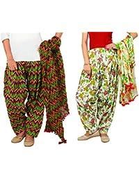 Rama Set Of 2 Printed Green & White Colour Cotton Full Patiala With Dupatta Set