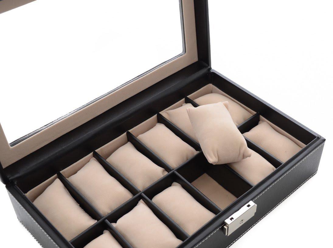Mantello Black Leather 12-Watch Box Showcase Jewelry Case Organizer 2016 new leather 10 slots wrist watch display box storage holder organizer case luxury brand women men watch boxes