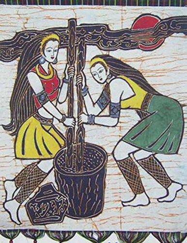 "Batik Folk Art Painting 26x32"" Miao Hmong Artist #431B"