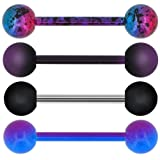 OUFER 4 PCS Stainless Steel 14G Barbell Tongue Rings Purple Black Splatter Tongue Barbell Tongue Piercing Jewelry (Color: Style 1)