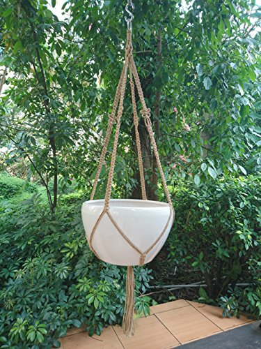 DragonFly 4 Legs Macrame Natural Jute Plant Hanger &Holder and Metal Ring, 52-inches Length (Without the white pot ) (Indoor Plant Pot Stainless compare prices)