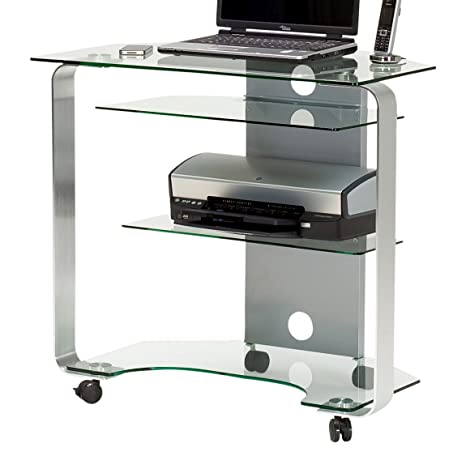 Jahnke CU MR 200 E Klgl/Polished Aluminium Corner Computer Desk with Tempered Safety Glass, Clear Glass, Size: 80 X 76 X 53cm