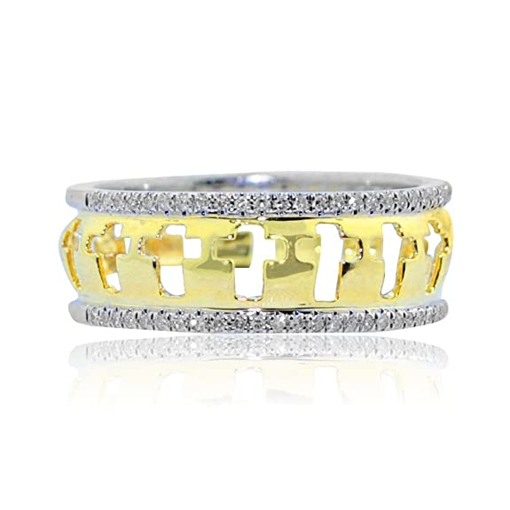 Rings-MidwestJewellery.com Women's 10K Yellow Gold Wedding Band Ring With Crosses 7.5Mm Wide 0.15Ctw Diamonds