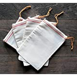 Cotton Muslin Bags 4x6 Inch Red Hem Orange Drawstring 10 Count Pack