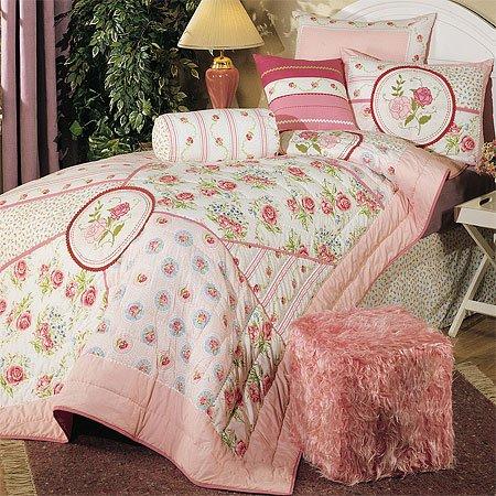 Arose Rose Pink Cotton Comforter Set, Full
