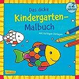 Das dicke Kindergarten-Malbuch: Mit farbigen Vorlagen und lustiger Fehlersuche: Malen