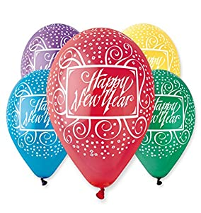 """Pack of 25 x 12"""" All Around Assorted Colours Happy New Year Balloons"""