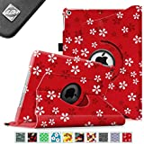 Fintie Apple iPad Air Case - 360 Degree Rotating Stand Case Cover with Auto Sleep / Wake Feature for iPad Air / iPad 5 (5th Generation) - Floral Red